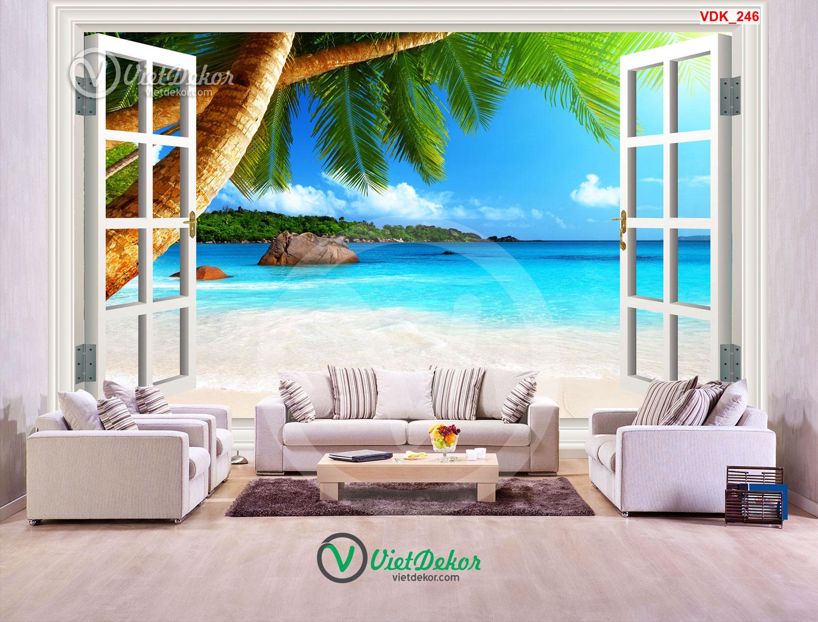 Tranh dán tường 3d phong cảnh trên bãi biển