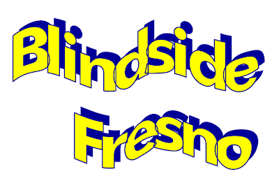 The words Blindside Fresno form a wave like pattern. The letters are yellow shadowed in blue to give a 3D effect.