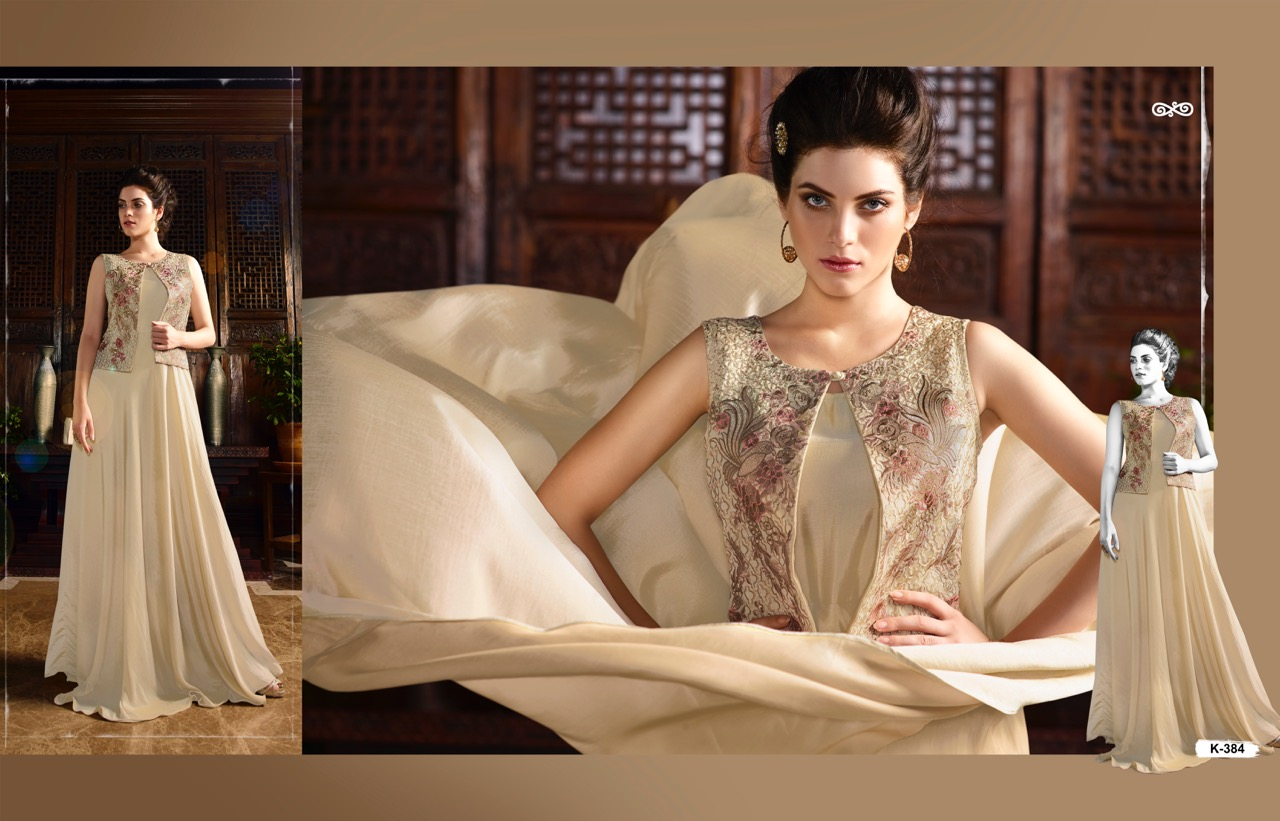 Aashi – Silk Satin With Embroidery Party Wear Gown