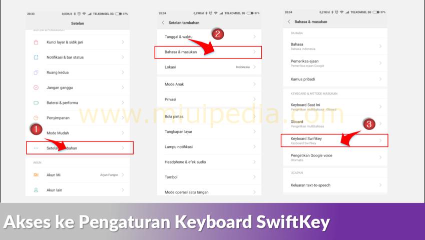 Akses ke Pengaturan Keyboard SwiftKey