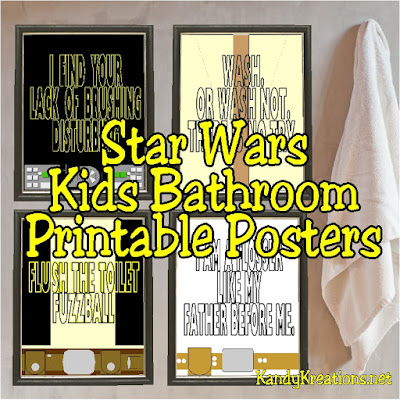 These bathroom printable posters are awesome! Use the force to help your kids to flush, wash, brush, and floss.  These Star Wars kids bathroom printable posters feature Darth Vader, Jedi Yoda, Han Solo and Lukey Skywalker in minimalistic prints and turns on favorite Star Wars quotes.