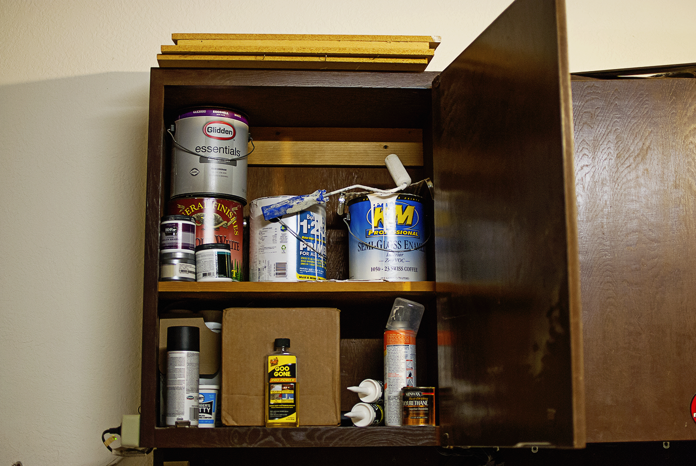 Shop Your House - Garage Cabinet With Left Over Paint Supplies