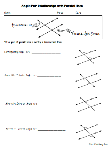 Angle Pair Relationships With Parallel Lines Can T Find