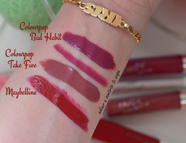 Lips Week: Maybelline - Colourpop - Swatches