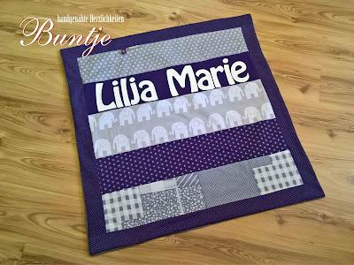 Kuscheldecke Name Lilja Marie lila grau Elefanten.