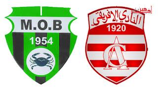 نتيجة و اهداف مباراة مولودية بجاية والنادي الافريقي بث مباشر يوتيوب موبايل اليوم 20-3-2016