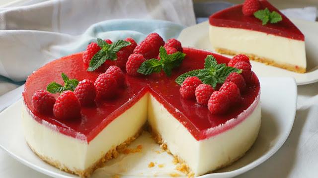 Tarta de queso sin horno con mermelada