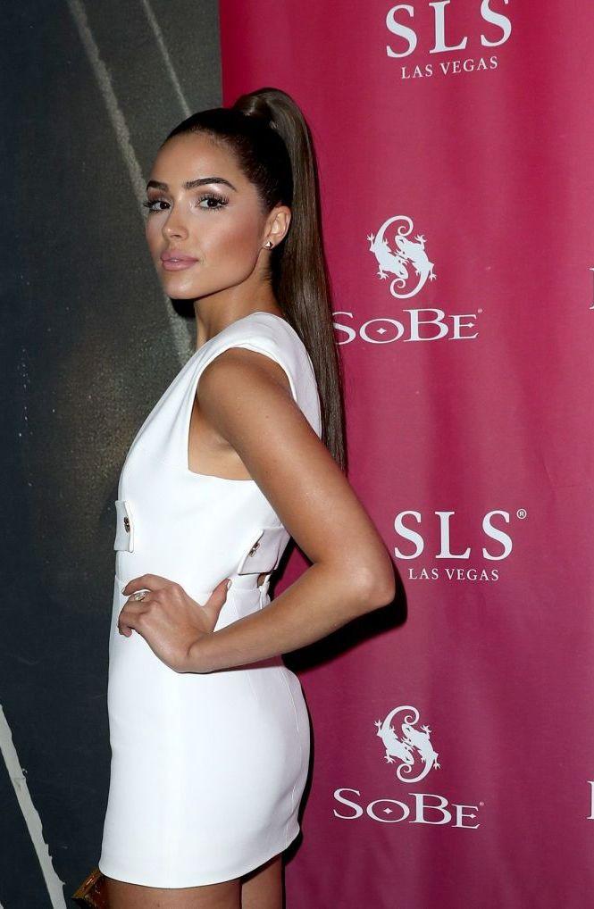 Olivia Culpo in White Dress at Foxtail Sls Sobe 21st Birthday Bash Pool Party in Las Vegas