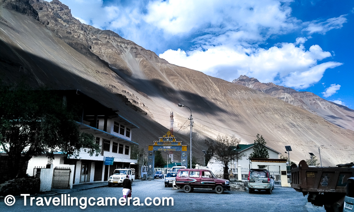Above photograph shows the main bus stand of Tabo village with huge mountain in the background. Spiti is full of such vibrant, high and dry mountains.     Related Post - How to reach Spiti Valley from Delhi and things to do around Kinnaur/Spiti in Himachal Pradesh