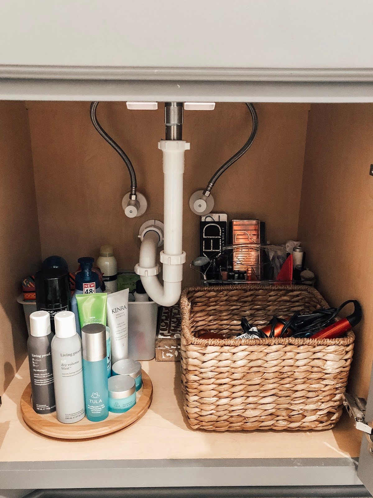 Under cabinet bathroom organization