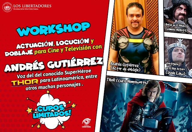No te pierdas el Workshop de Actuación, Locución y Doblaje de Voz con Andrés Gutiérrez en Bogotá, Colombia