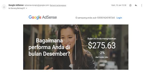 Gaji Google Adsense Senang Berbagi Bulan Desember 2018