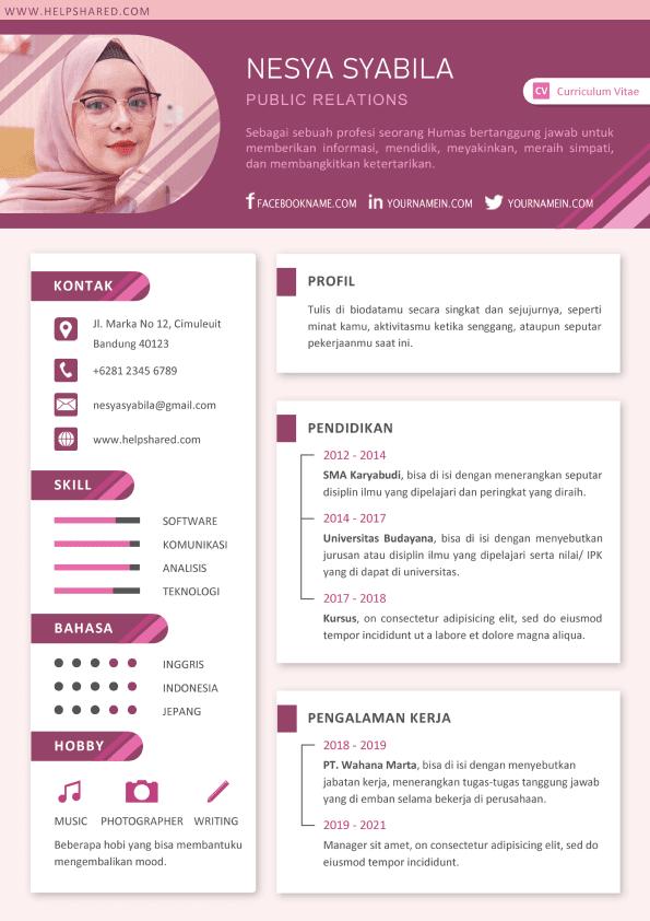 Contoh CV Lamaran Kerja Kreatif Menarik Curriculum Vitae