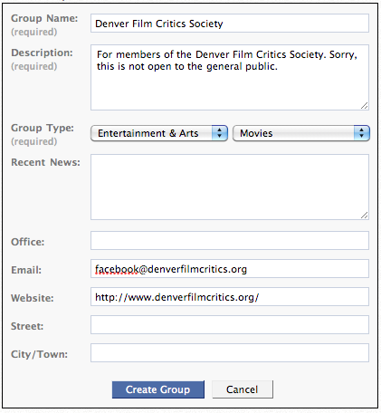 How to create a private facebook page for a group