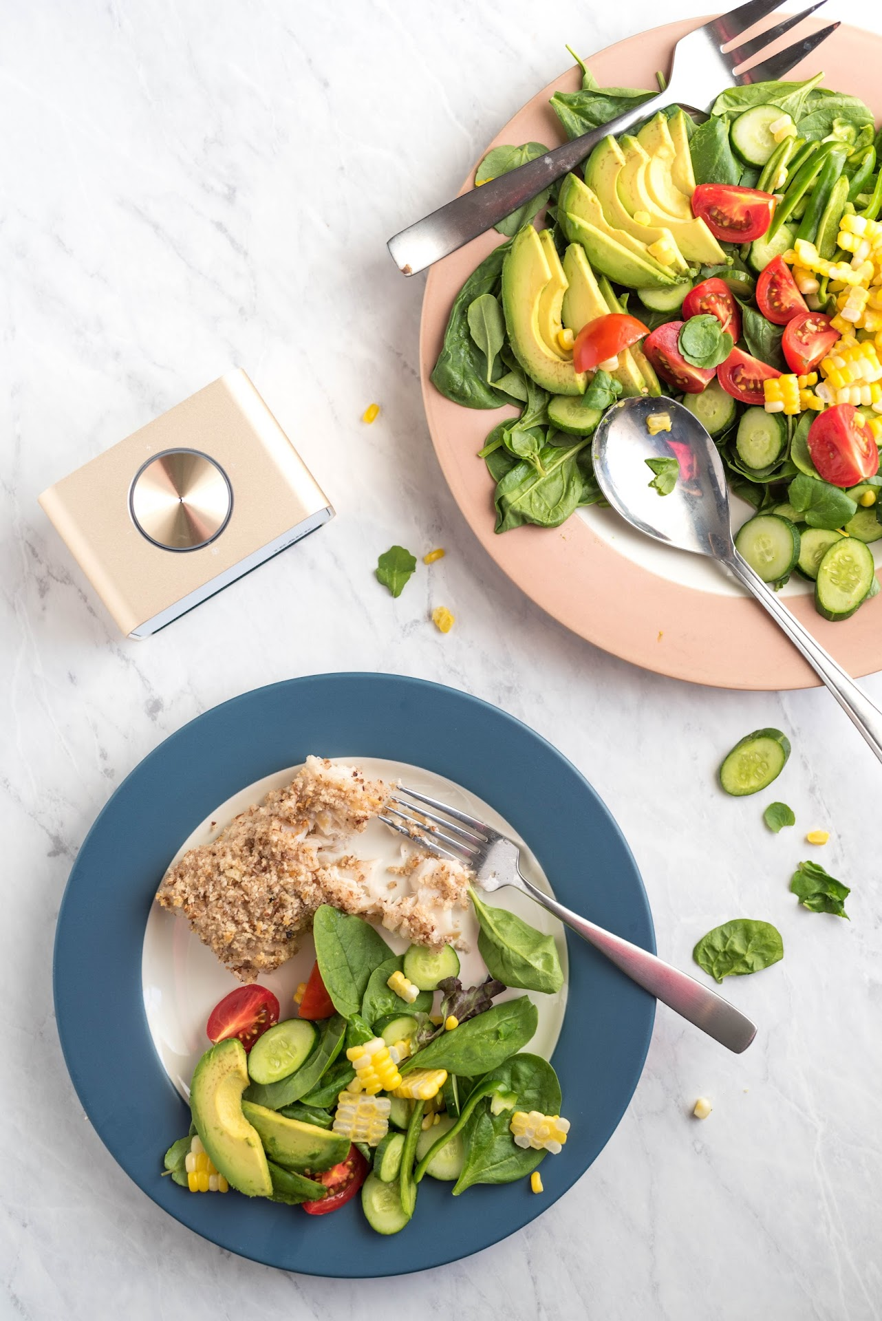 salad, pretty salad, gourmet, watercress, fresh, summer salad, healthy meal, pecan crusted cod, seafood, gold speaker, bluetooth speaker, best speaker, trakk speaker review, trakk ceo,