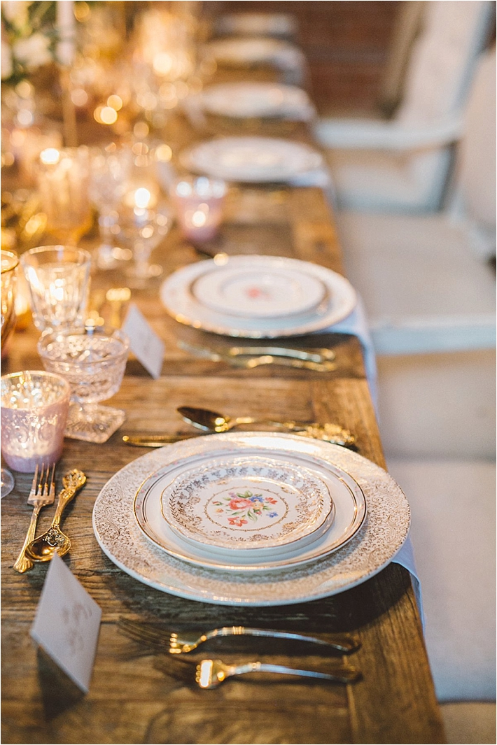 Romantic tablescape with elegant vintage china