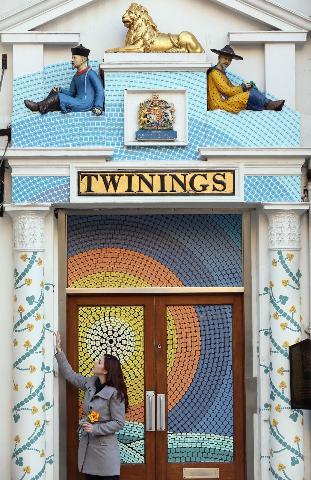 twinings strand store decorated with thousands of teabags