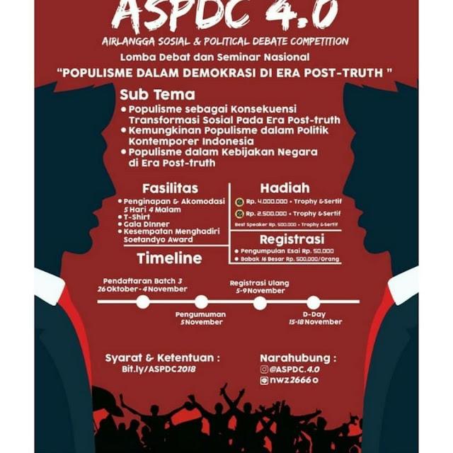 Lomba Debat & Seminar Nasional ASPDC 4.0 2018 Mahasiswa
