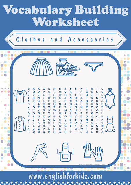 Clothes and accessories word search puzzle