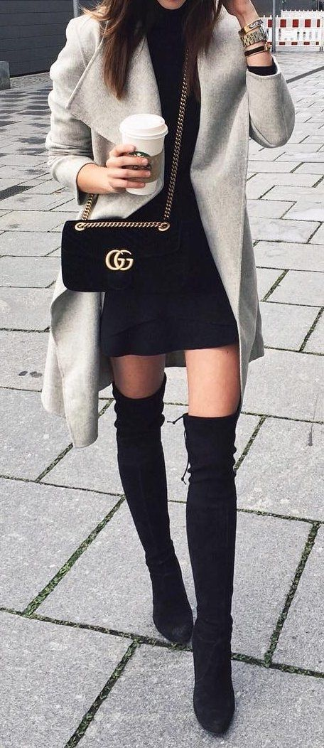fashion trends / grey coat + bag + black dress + over the knee boots