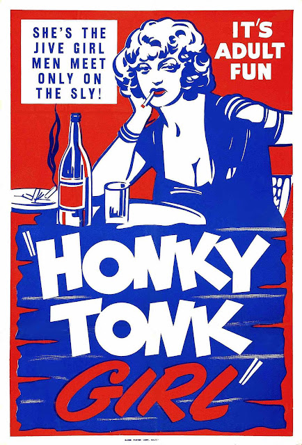 Honky Tonk Girl, 1930s movie poster, red white blue, jive girl