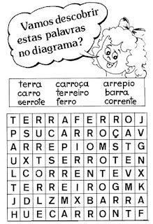Atividade alfabetização caça-palavras