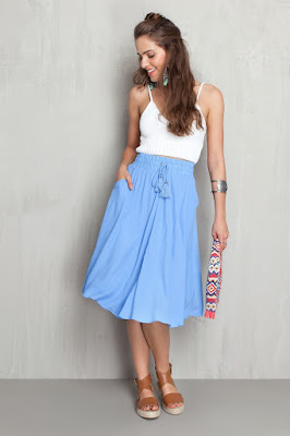 saia azul blue skirt linda moda tendencia elegante moderna fashion barata atual descolada feminina mulher falda gonna blu jupe bleue claro clara despojada teen jovem balone