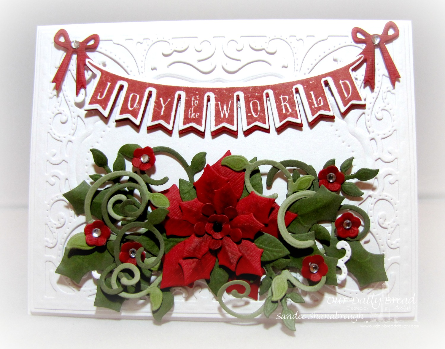 Stamps - Our Daily Bread Designs Christmas Pennant Swag, ODBD Custom Peaceful Poinsettias Dies, ODBD Custom Fancy Foliage Die, ODBD Custom Pennant Swag Die, ODBD Custom Circle Ornaments Die, ODBD Custom Vintage Flourish Pattern Die