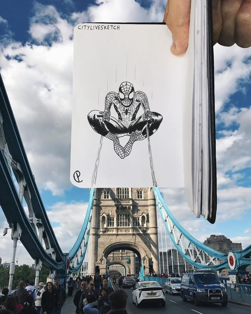 14-Tower-Bridge-Spider-Man-Pietro-Cataudella-3D-Architectural-Urban-Moleskine-Sketches-www-designstack-co