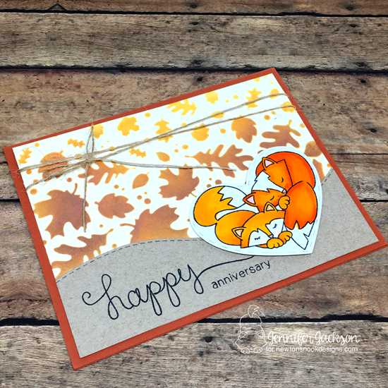 Fall Anniversary Card by Jennifer Jackson | Woodland Duos & Simply Sentimental Stamp Sets and Falling Leaves Stencil by Newton's Nook Designs #newtonsnook #handmade