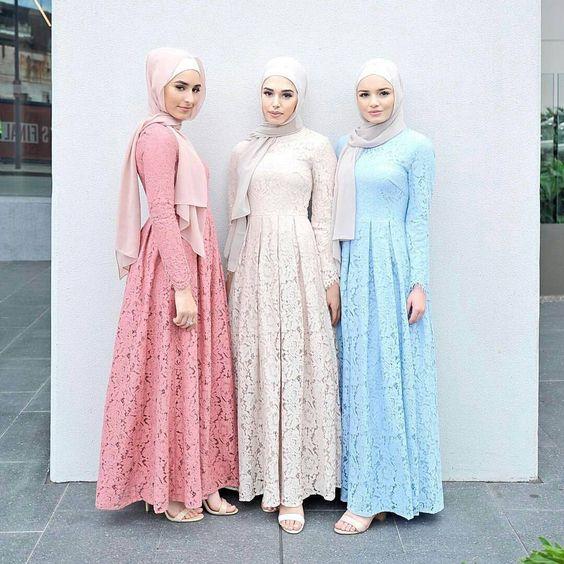 25 Foto Dress Kebaya Modern Brokat Long Dress Pendek Selutut
