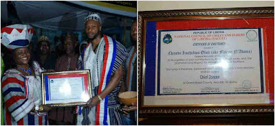 Liberia honours Flavour with a Chieftaincy title (photos)