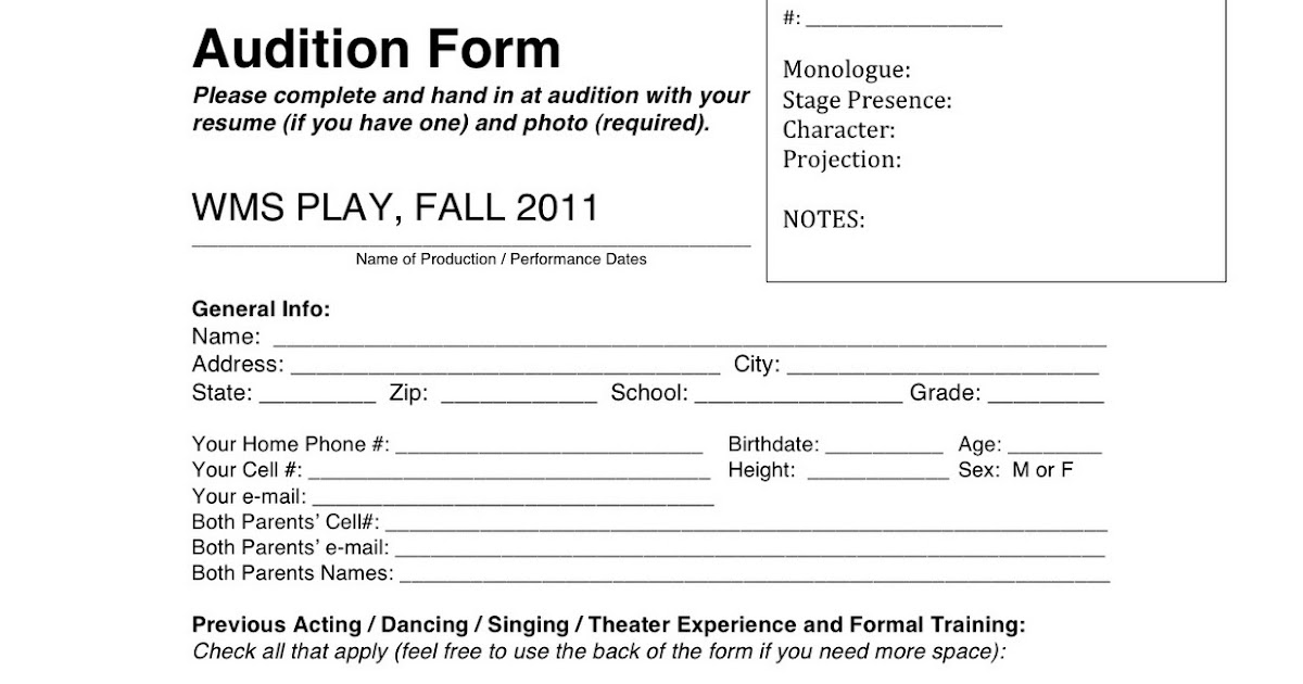 Wyoming Middle School Theater Audition Form - audition form