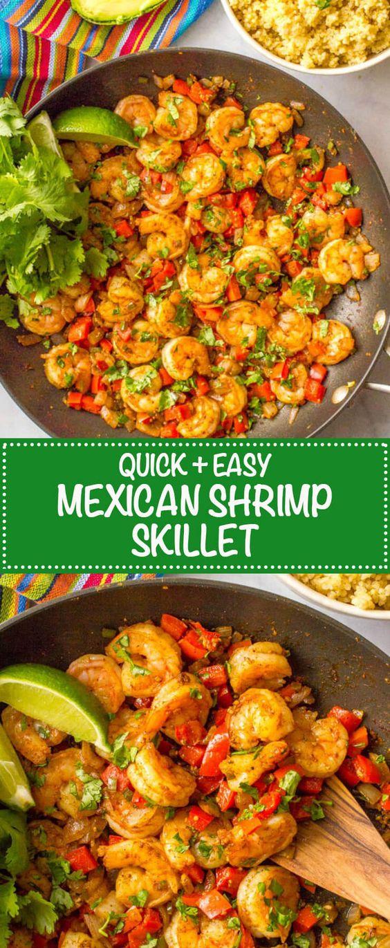 Quick Easy Mexican Shrimp Skillet