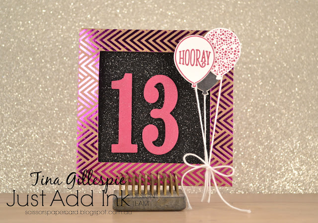 scissorspapercard, Stamping' Up!, Just Add Ink, Foil Frenzy SDSP, Large Numbers, Happy Birthday Gorgeous, Glimmer Paper