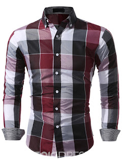 Long Sleeve Color Block Plaid Men's Shirt