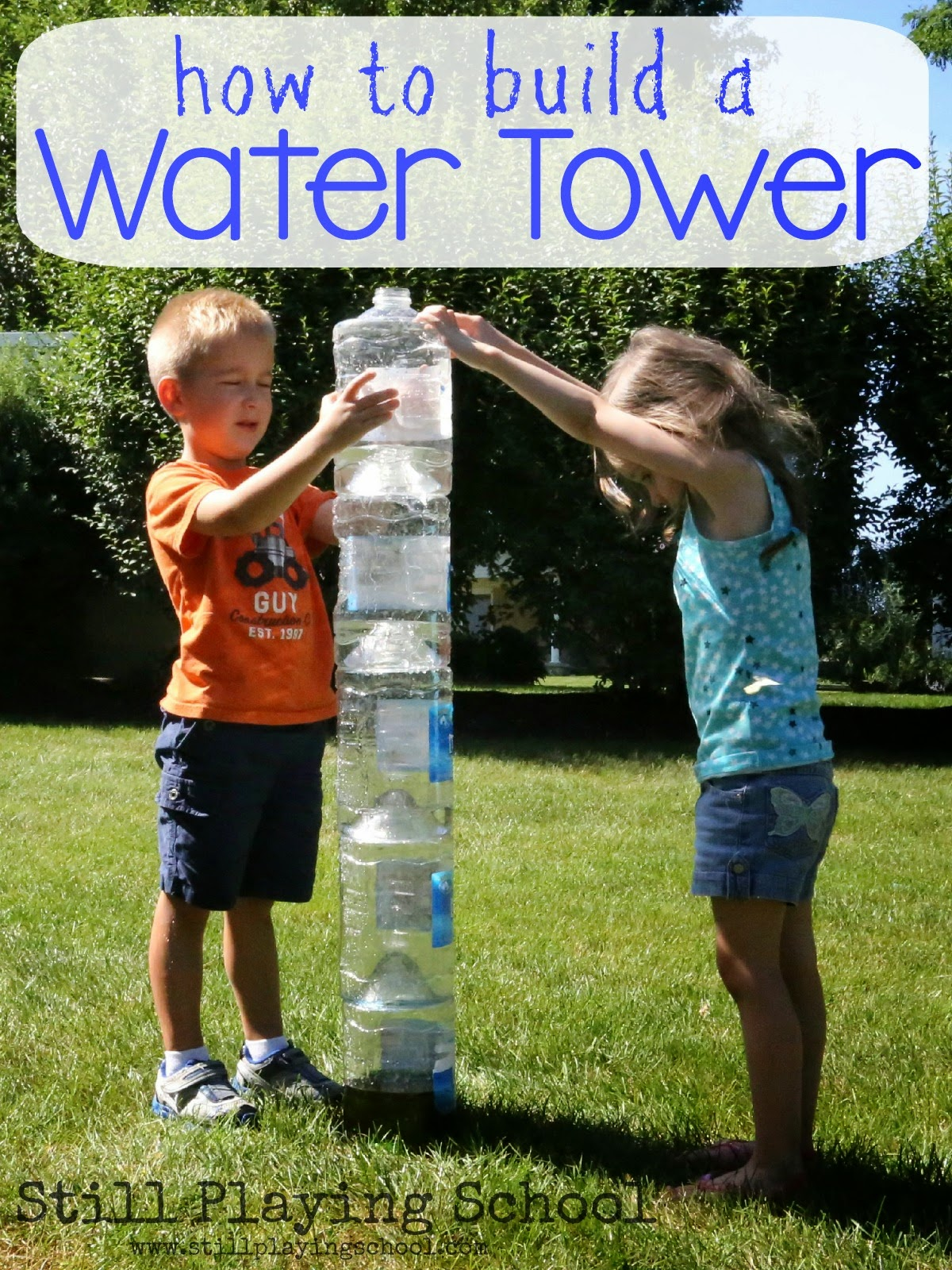 Plastic Bottle Water Tower For Kids