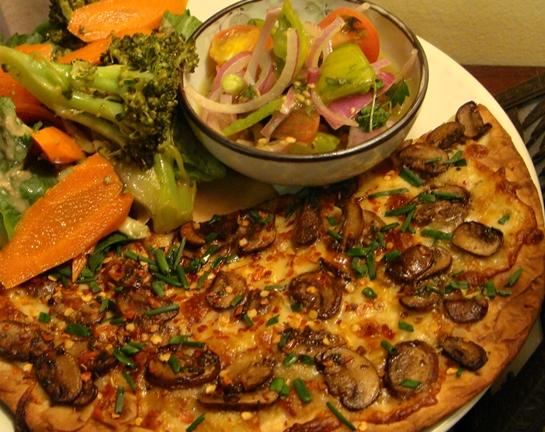 Mushroom Flat Bread Pizza with Heirloom Tomato Salad and Steamed ...