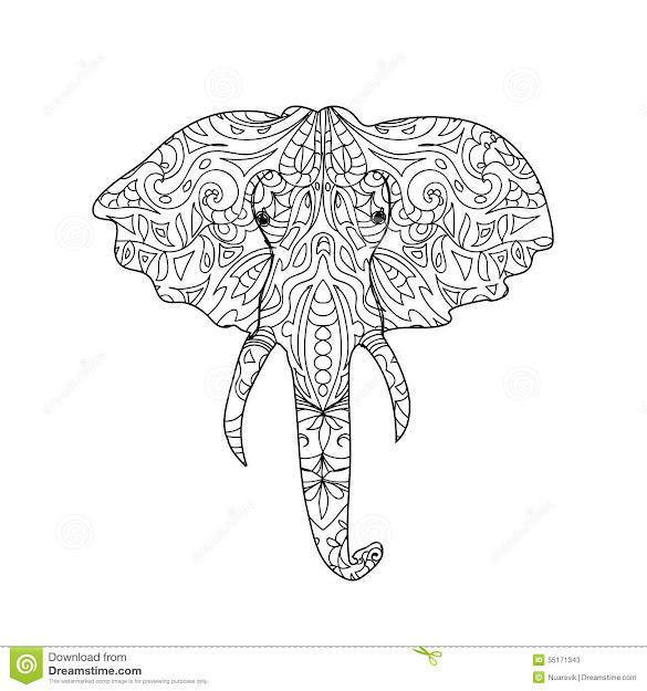 Elephant Head Zentangle