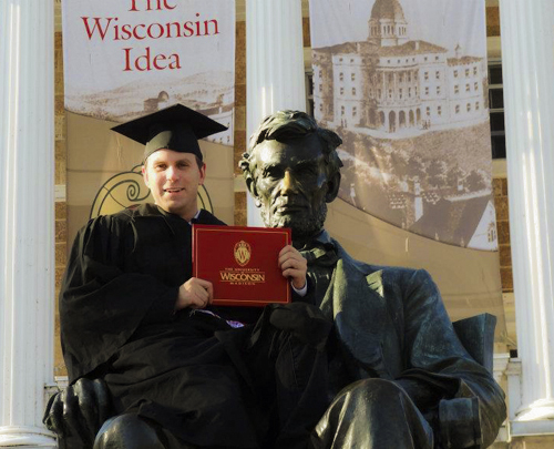 Graduation tradition on Basom Hill UW Madison