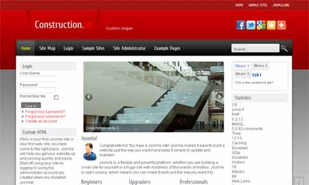 Free Red Joomla 2.5 Construction Template