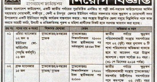 All Newspaper Jobs Prijom Bangladesh Foundation Post