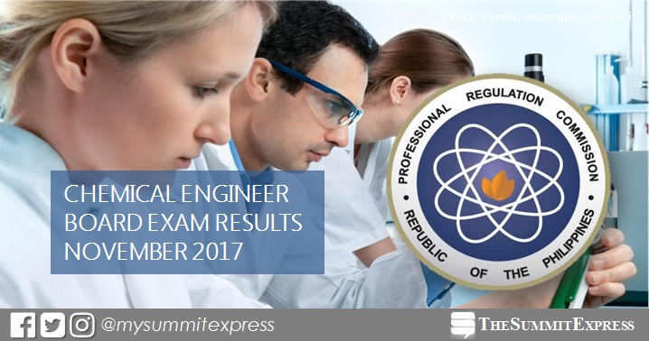 November 2017 Chemical Engineer ChemEng board exam passers list, top 10