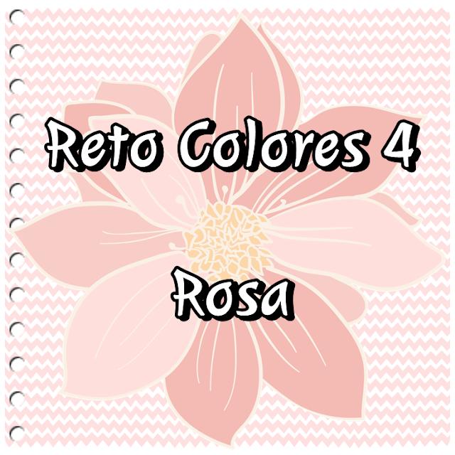 cartel reto colores fondo rosa con una flor rosa