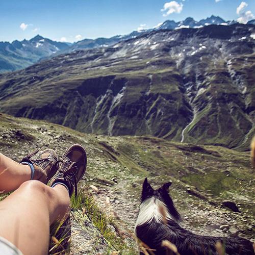 wandern mit Alpenpanorama