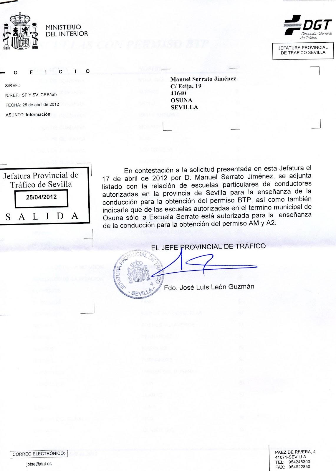 Autoescuela serrato nica autoescuela autorizada para la - Jefatura provincial de trafico de santander ...