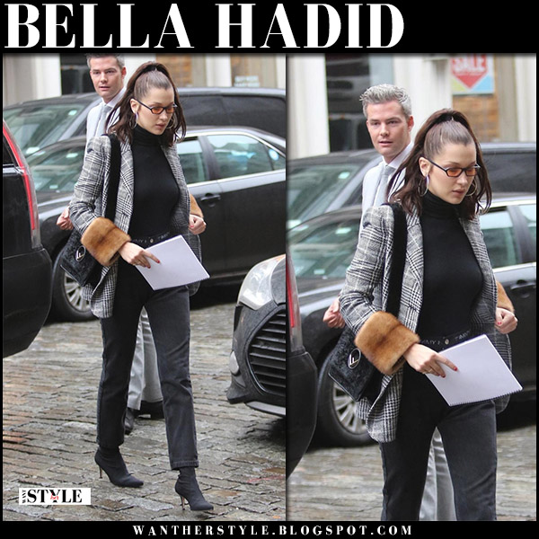 Bella Hadid in grey plaid check blazer with fur cuffs fendi and black jeans model street style january 12