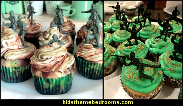 army party cupcakes army food    army party decorations - Camouflage Party Supplies - army party ideas - Military party ideas for a boy birthday party - Army & Camouflage decorations - army party decoration ideas - army themed party - army costumes - Army Camo Party Supplies -