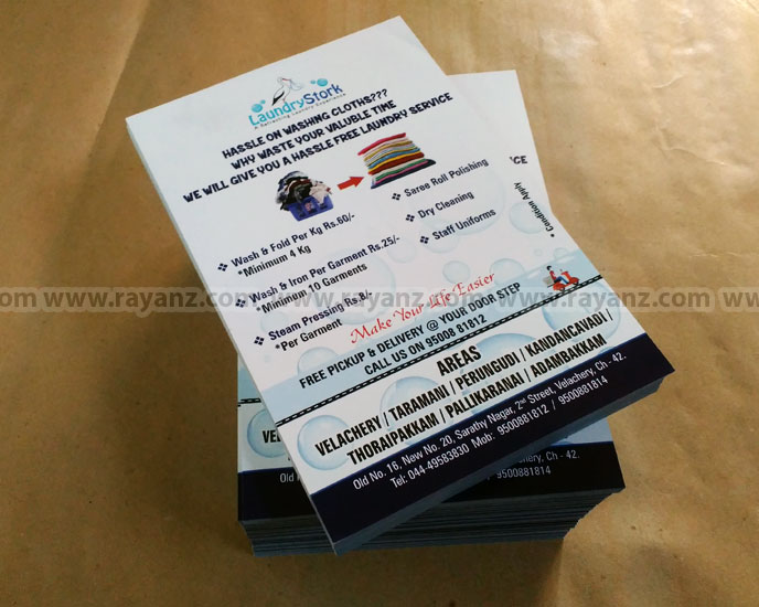 A5 size Laundry & Dry Clearners Flyers high quality printing in Chennai