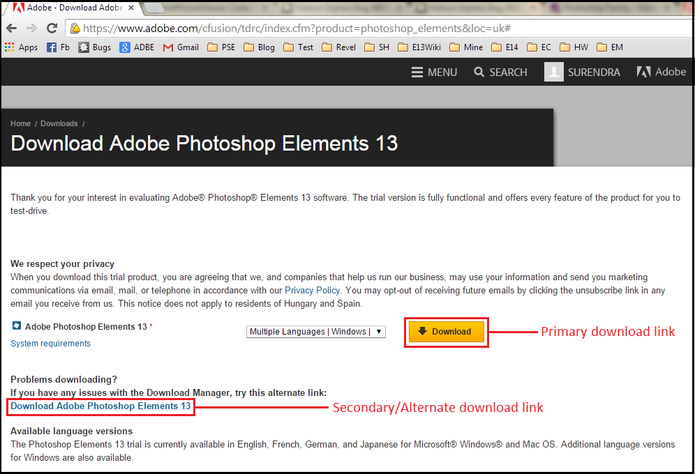 Photoshop Elements (PSE) knowledge base : Downloading
